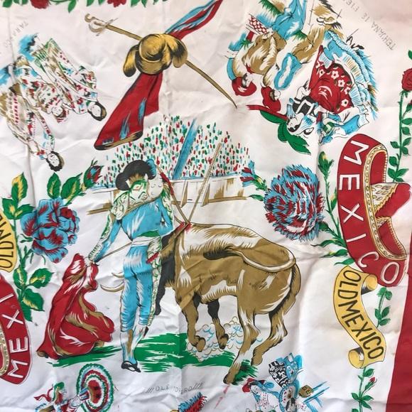 Vintage Accessories - Souvenir Silk Scarf - Vintage